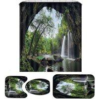 Natural Waterfall Bathroom Set Shower Curtain 3pcs Home Carpet Toilet Seat Cover Bath Mat Rugs Set