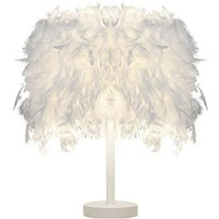 Nature Feather Table Lamp Modern Romantic Desk Light Pure White Feather Table Light for Dining Table Desk Dressing Table(White Base) - STOEX