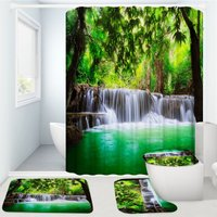 Nature Waterfall View Bathroom Decor Waterproof Shower Curtain Toilet Seat Cover Home Rug Carpet Floor Mat Sets