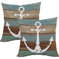 Nautical Anchor Rustic Wood Throw Pillow Cover Anchor Throw Pillow Case Set of 2 Decorative Pillow Case for Sofa Couch Bed Office Car