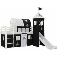 Nehru European Single Mid Sleeper Bed with Curtain by Zoomie Kids - Black