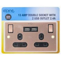 Dp - New 13Amp Rose Gold Socket Double Switch Usb Plug 2 Gang Power Electric Wall