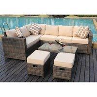 Yakoe - NEW Conservatory MODULAR 8 Seater Rattan Corner Brown Sofa Set Garden Furniture