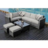 Yakoe - NEW Conservatory MODULAR 8 Seater Rattan Corner Grey Sofa Set Garden Furniture with Fitting Cover