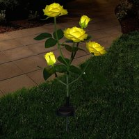 Briday - New Material Outdoor Realistic Solar Powered Rose Lights Flower Stake, for Garden Patio Yard Pathway Decoration, Yellow