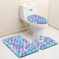 New Non-Slip Bath Mat, 3 Piece Bath Mats Contour Bathroom Mat Set Toilet Mat WC (A)