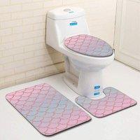 Perle Raregb - New Non-Slip Bath Mat, 3 Piece Bath Mats Contour Bathroom Mat Set Toilet Mat WC (C)