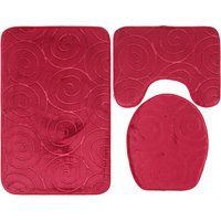 Perle Raregb - New Non-Slip Bath Mat, 3 Piece Bath Mats Contour Bathroom Mat Set Toilet Mat WC (Red)