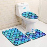 Perle Raregb - New Non-Slip Bath Mat, 3 Piece Bath Mats Contour Bathroom Mat Set Toilet Toilet Mat WC (B)