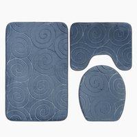 New Non-Slip Bath Mat, 3 Piece Bath Mats Contour Bathroom Mat Set Toilet WC Mat (Gray)