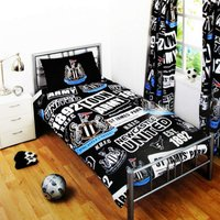 Patch Single Duvet Cover And Pillow Case (One Size) (Black/White) - Newcastle United Fc
