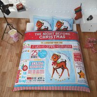 Night Before Christmas Double Quilt Duvet Cover and 2 Pillowcases Bedding Bed Set Rudolph Xmas - RAPPORT