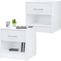 Night Stand Table Bedside Cabinet Bedroom Furniture Drawer Side Storage Home 2er Set weiß (de)