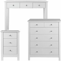 Nightsgale White Bedroom Set Bedside Chest 2+4 Chest Of Drawers And Desk Or Dressing Table Danish Made Quality - NETFURNITURE