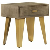 Nightstand 45x35x48 cm Solid Mango Wood and Cast Iron - Brown - Vidaxl