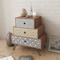 Nightstand with 3 Drawers Brown