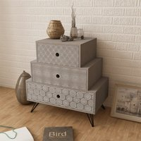 Nightstand with 3 Drawers Grey