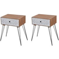 Zqyrlar - Nightstands with Drawer 2 pcs Brown - Brown