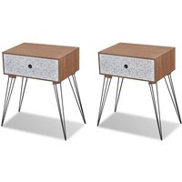Nightstands with Drawer 2 pcs Brown