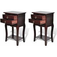 Nightstands with Drawers 2 pcs Brown - Brown