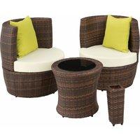 Rattan garden furniture set Nizza - garden tables and chairs, garden furniture set, outdoor table and chairs - black/brown