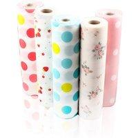 Non-Adhesive Shelf Paper Beautiful Dot Pattern Drawer Storage Liner (5 Rolls One Set), 30X500cm