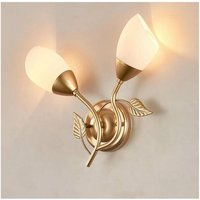 Nordic LED Wall Light Creative American Country Bedside Lamp Iron Art Hallway Aisle Foyer Mirror Front Lamp Retro Single Head Gold