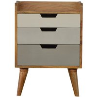 Nordic Style Grey Painted Bedside with 3 Drawers