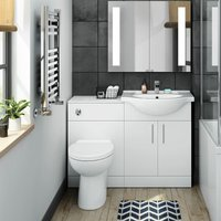 Neshome - Norewood Bathroom Suite Vanity Unit Toilet Basin Back To Wall Basin Tap and Waste