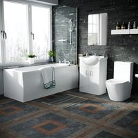 Neshome - Norf Complete Bathroom Suite - Bath Tub, Close Coupled Toilet, Slider Rail Thermostatic Shower, Basin Vanity Unit, Tap Set and Wastes