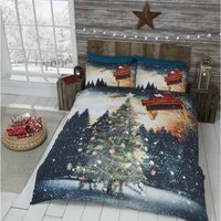 Northern Lights Christmas Tree King Size Duvet Quilt Cover and 2 Pillowcases Bedding - RAPPORT