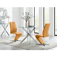 Furniturebox Uk - Novara 100cm Round Dining Table and 2 Mustard Willow Chairs