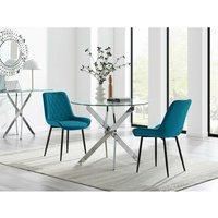 Novara 100cm Round Dining Table and 2 Blue Pesaro Black Leg Chairs