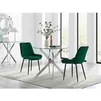 Novara 100cm Round Dining Table and 2 Green Pesaro Black