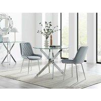 Furniturebox Uk - Novara 100cm Round Dining Table and 2 Grey Pesaro Silver Leg Chairs