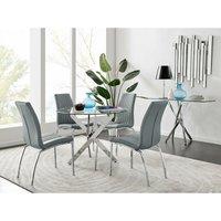 Furniturebox Uk - Novara Chrome Metal Round Glass Dining