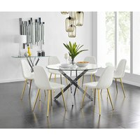 Novara Chrome Metal And Glass Large Round Dining Table And 6 White Corona Gold Chairs Set