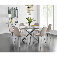 Novara Chrome Metal And Glass Large Round Dining Table And 6 Cappuccino Grey Corona Silver Chairs Set
