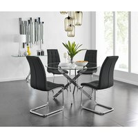 Furniturebox Uk - Novara Chrome Metal And Glass Large Round