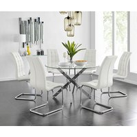 Novara Chrome Metal And Glass Large Round Dining Table And 6 White Murano Chairs Set