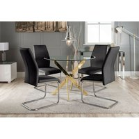 Novara Gold Metal Round Glass Dining Table And 4 Black Lorenzo Dining Chairs