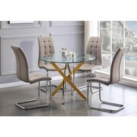 Furniturebox Uk - Novara Gold Metal Round Glass Dining Table And 4 Cappuccino Grey Murano Dining Chairs