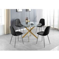 Novara Gold Metal Large Round Dining Table And 4 Black Corona Silver Chairs Set