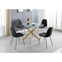 Novara Gold Metal Large Round Dining Table And 6 Black