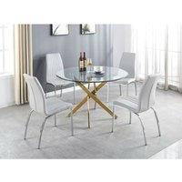 Novara Gold Metal Large Round Dining Table And 4 White Isco Chairs Set