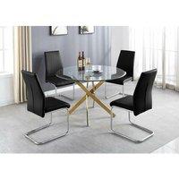 Novara Gold Metal Large Round Dining Table And 6 Black Lorenzo Chairs Set