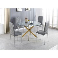 Novara Gold Metal Large Round Dining Table And 6 Grey Milan Chairs Set
