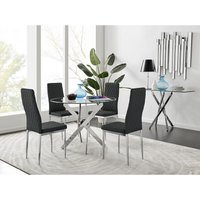 Novara Round Chrome Metal And Glass Dining Table And 4 Black Milan Dining Chairs Set - FURNITUREBOX UK
