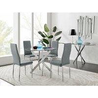 Novara Round Chrome Metal And Glass Dining Table And 4 Grey Milan Dining Chairs Set - FURNITUREBOX UK