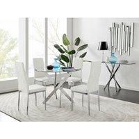 Novara Round Chrome Metal And Glass Dining Table And 4 White Milan Dining Chairs Set - FURNITUREBOX UK